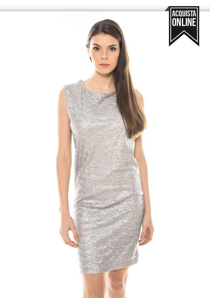 abito corto con paillettes argento da cocktail