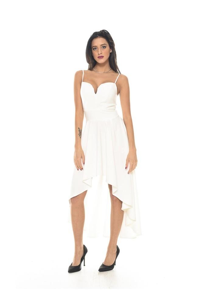 abito da cocktail bianco corto davanti lungo dietro